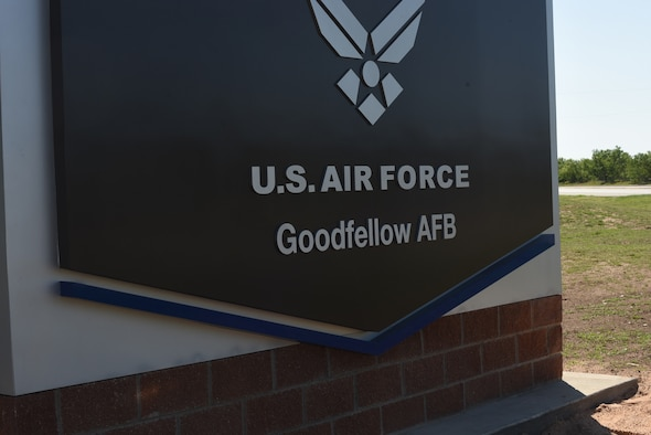 The new sign outside of the Jacobson Gate on Goodfellow Air Force Base, Texas, May 20, 2021. The new signs were completed on May 27, 2021. (U.S. Air Force photo by Senior Airman Abbey Rieves)