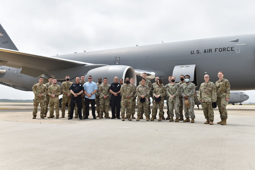 87th Security Forces Airmen stand outside a KC-46 Pegasus following familiarization training at Joint Base McGuire-Dix-Lakehurst, N.J., May 26, 2021. The 3-day training allowed SFS to receive an in-person look at the airframe and a chance to plan for safety procedures in the future. (U.S. Air Force Photo by Senior Airman Shay Stuart)