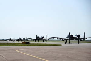 A-10s taxiing at Sheppard AFB