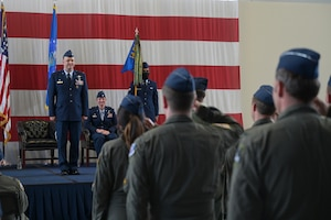 A formation comprised of Airmen from the 37th Flying Training Squadron salute Lt. Col. Aaron Tillman, outgoing 37th FTS commander during a change of command ceremony May 27, 2021, on Columbus Air Force Base, Miss. The T-6A Texan II is a single-engine, two-seat primary trainer designed to train Joint Primary Pilot Training, or JPPT, students in basic flying skills common to U.S. Air Force and Navy pilots. (U.S. Air Force photo by Senior Airman Jake Jacobsen)