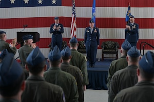Audience members clap for Lt. Col. Valarie Ferrara, 37th Flying Training Squadron commander, at the 37th FTS change of command ceremony May 27, 2021, on Columbus Air Force Base, Miss. The 37th FTS conducts primary flight training in the T-6A Texan II where students learn basic aircraft characteristics and control, takeoff and landing techniques, aerobatics, and night, instrument and formation flying. (U.S. Air Force photo by Senior Airman Jake Jacobsen)