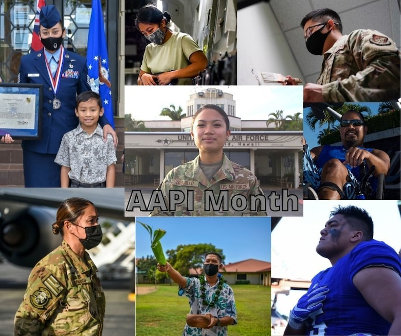 The 15th Wing celebrates Asian American Pacific Islander Heritage Month by highlighting its AAPI members at Joint Base Pearl Harbor-Hickam, Hawaii, May 12, 2021. Since 1977, the month of May has been designated to recognize the achievements and contributions to the American story by Asian Americans and Pacific Islanders. (U.S. Air Force graphic by Tech. Sgt. Nicholas Brown)