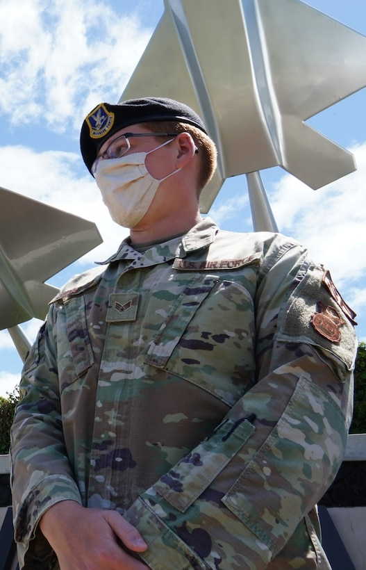 Senior Airman Joshua Zimmerman, 647th Security Forces Squadron patrolman, issues tickets and investigates on-base incidents to protect 93,000 personnel assigned to Joint Base Pearl Harbor-Hickam, Hawaii, May 12, 2021. The 647th SFS ensures the safety of people, property, and resources on the joint installation. (U.S. Air Force photo by Tech. Sgt. Nicholas Brown)