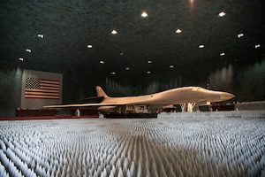 Ground crews move a B-1B Lancer into position at the Benefield Anechoic Facility on Edwards Air Force Base, California, May 20. The Lancer, from the 337th Test and Evaluation Squadron, 53rd Wing, out of Dyess Air Force Base, Texas, will be used to conduct testing of Pre-processor Flight Software (PFS) 6.42. (Air Force photo by 1st Lt. Christine Saunders)