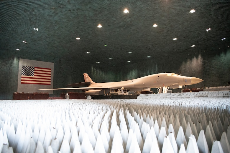 Ground crews move a B-1B Lancer into position at the Benefield Anechoic Facility on Edwards Air Force Base, California, May 20. The Lancer, from the 337th Test and Evaluation Squadron, 53rd Wing, out of Dyess Air Force Base, Texas, will be used to conduct testing of PFS 6.42. (Air Force photo by 1st Lt. Christine Saunders)
