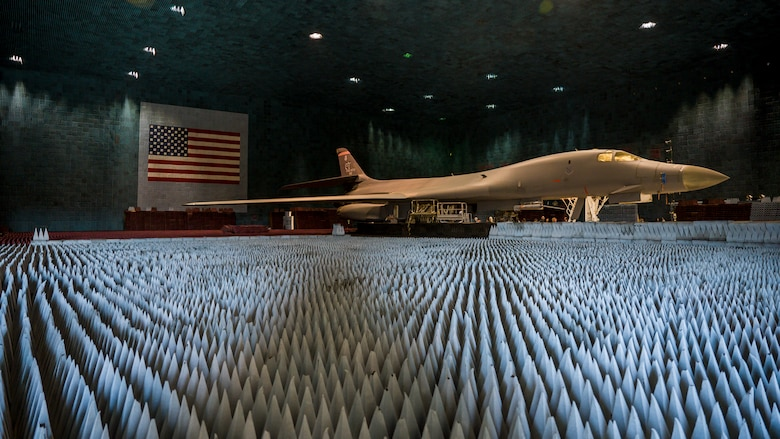 Ground crews move a B-1B Lancer into position at the Benefield Anechoic Facility on Edwards Air Force Base, California, May 20. The Lancer, from the 337th Test and Evaluation Squadron, 53rd Wing, out of Dyess Air Force Base, Texas, will be used to conduct testing of PFS 6.42. (Air Force photo by Giancarlo Casem)