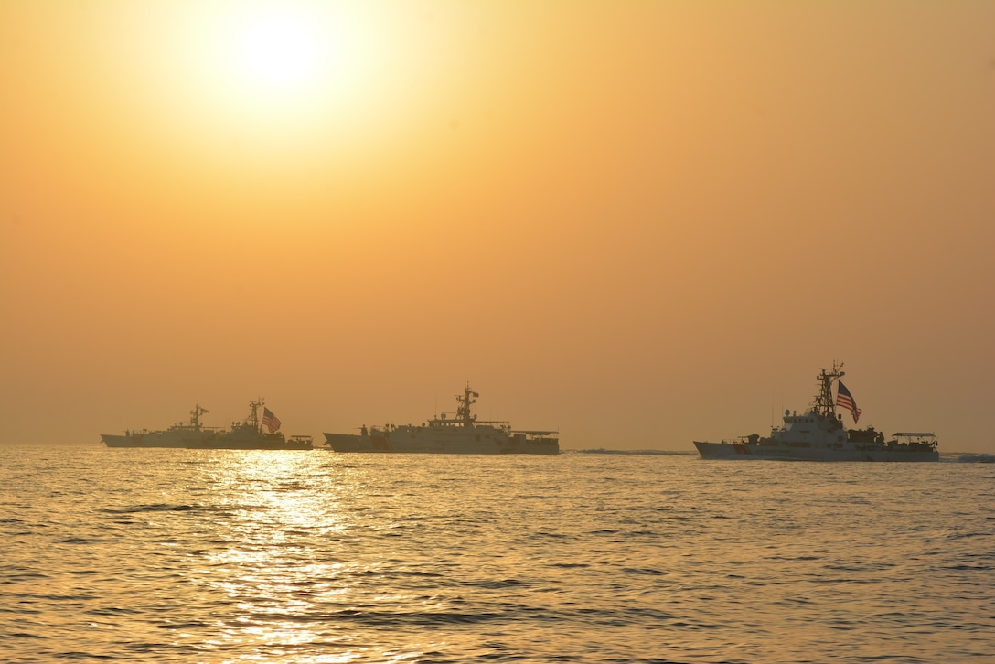 ARABIAN GULF (May 24, 2021) – Fast response cutters USCGC Robert Goldman (WPC 1142) and USCGC Charles Moulthrope (WPC 1141), and patrol boats USCGC Maui (WPB 1304) and Adak (WPB 1333) transit the Arabian Gulf en route to Bahrain, May 24. Robert Goldman and Charles Moulthrope are the newest additions to Patrol Forces Southwest Asia (PATFORSWA), which is comprised of six 110' cutters, the Maritime Engagement Team, shore side support personnel, and is the Coast Guard's largest unit outside of the U.S. playing a key role in supporting Navy security cooperation, maritime security, and maritime infrastructure protection operations in the U.S. 5th Fleet area of operations. (U.S. Coast Guard photo by Seaman Logan Kaczmarek)