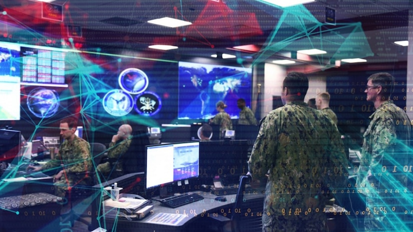 A graphic shows people in military uniforms at different workstations.