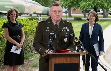 Maj. Gen. Greg Knight, Vermont's adjutant general, gives opening remarks during a press conference May 27, 2021. Knight, along with Lt. Gov. Molly Gray (right) and Lindsay Kurrle (left), Vermont's secretary of commerce and community development, will spend several days in North Macedonia discussing expansion of the current State Partnership Program to include economic development opportunities. (U.S. Army National Guard photo by Don Branum)