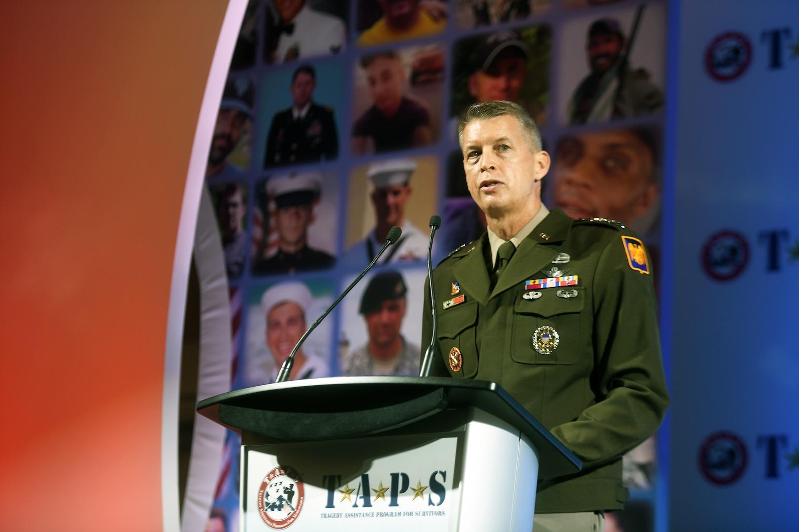 Army Gen. Daniel Hokanson, chief, National Guard Bureau, addresses attendees at the TAPS 27th Annual National Military Survivor Seminar and Good Grief Camp, Arlington, Virginia, May 28, 2021.