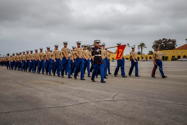 Marines march in formation.