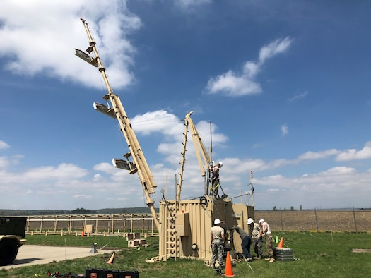Members of the 53rd and 270th Air Traffic Control Squadrons participate in hands-on Deployable Instrument Landing Systems training at Rosecrans Air National Guard Base in St Joseph, Mo., in early 2019. The D-ILS vastly improves warfighter's abilities to land in austere environments and low-visibility conditions. (Courtesy photo)