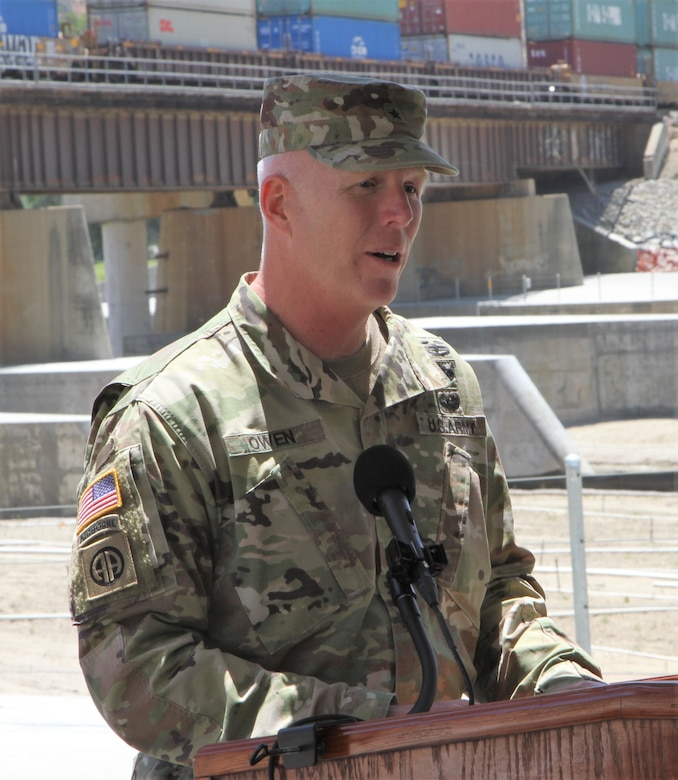 Brig. Gen. Paul Owen, U.S. Army Corps of Engineers South Pacific Division commander, speaks at the May 27 ribbon-cutting ceremony for the BSNF Railroad Bridge Pier Protection Project in Corona, California. The purpose of the project is to minimize risk to the bridge in flood conditions and during increased water releases from Prado Dam resulting from periods of heavy rainfall.