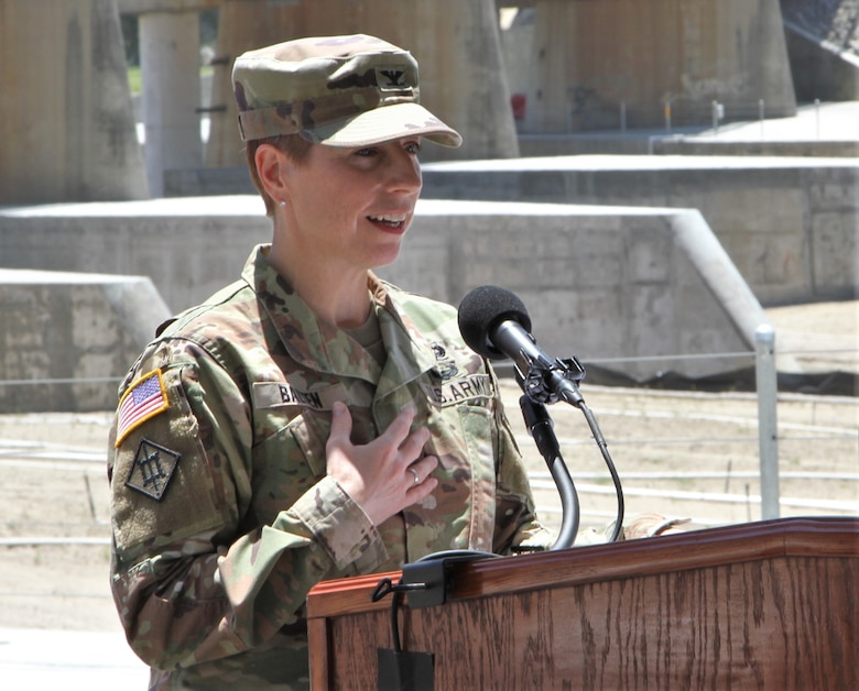 Col. Julie Balten, U.S. Army Corps of Engineers Los Angeles District commander, welcomes guests representing local, county, state and federal agencies at the May 27 ribbon-cutting ceremony for the BSNF Railroad Bridge Pier Protection Project in Corona, California. The purpose of the project is to minimize risk to the bridge in flood conditions and during increased water releases from Prado Dam resulting from periods of heavy rainfall.