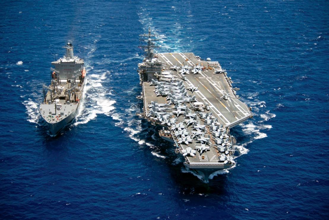 USS Ronald Reagan (CVN 76) refuels from USNS Pecos (T-AO 195).