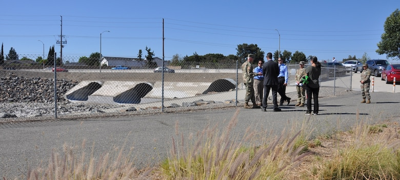 U.S. Army Core of Engineers SPD commander Brig. Gen. Paul Owen asks questions from the 's A District team during a visit to Santiago Creek, May 27.
