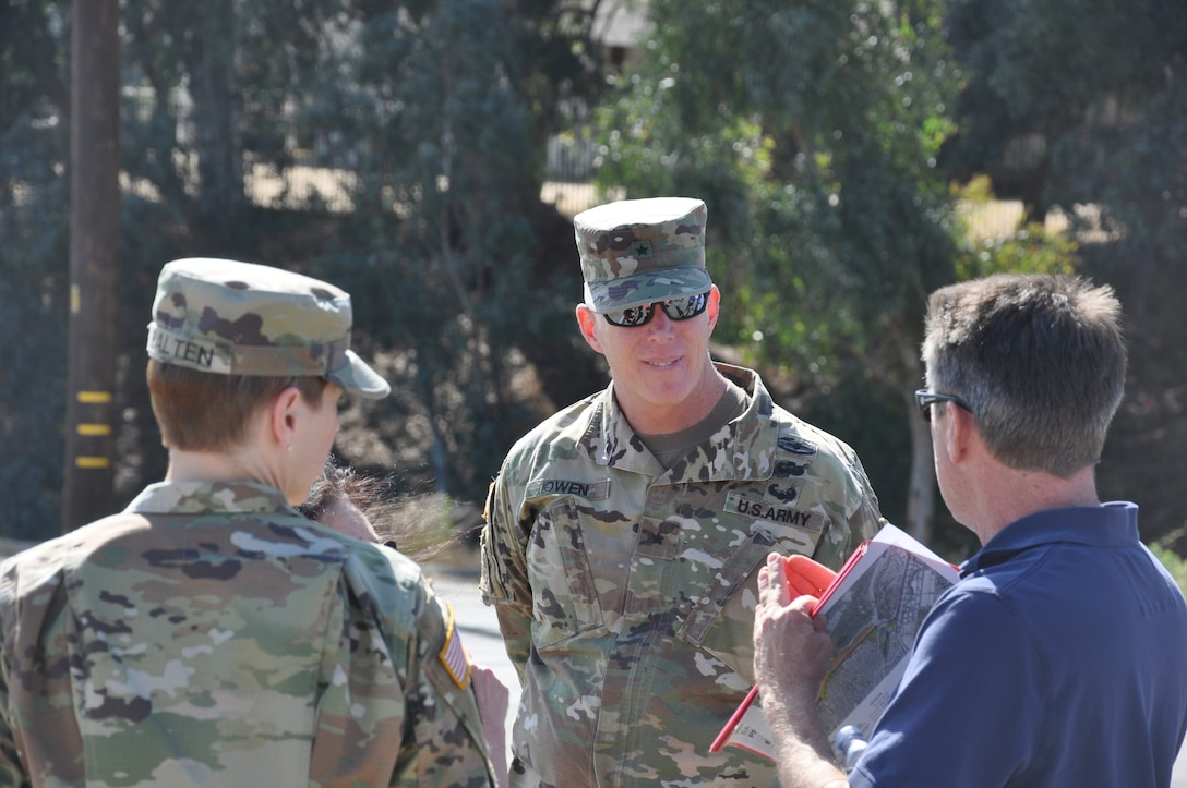 U.S. Army Corps of Engineers South Pacific Division commander Brig. Gen. Paul Owen is briefed at Whittier Narrows Dam, May 26.