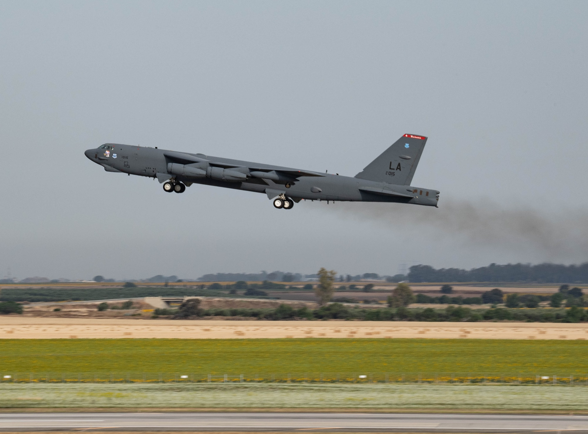 A B-52H Stratofortress assigned to the 2nd Bomb Wing, Barksdale Air Force Base, Louisiana, takes off at Morón Air Base, Spain, May 31, 2021 in support of Bomber Task Force operations. Bomber missions highlight the U.S. military's ability to conduct integration training with partners and allies. (U.S. Air Force photo by 2nd Lt. Aileen Lauer)