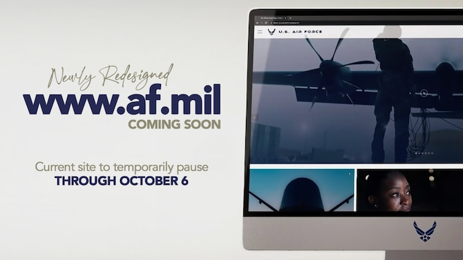 Newly redesign www.af.mil promotional graphic.
