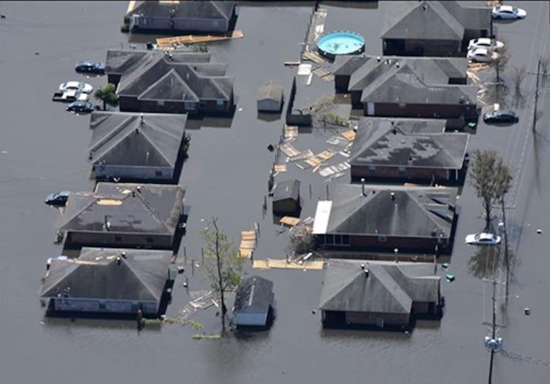 A flooded neighborhood in LaRose, La.
