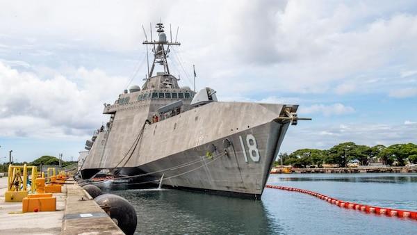 USS Charleston (LCS 18) moors in Guam