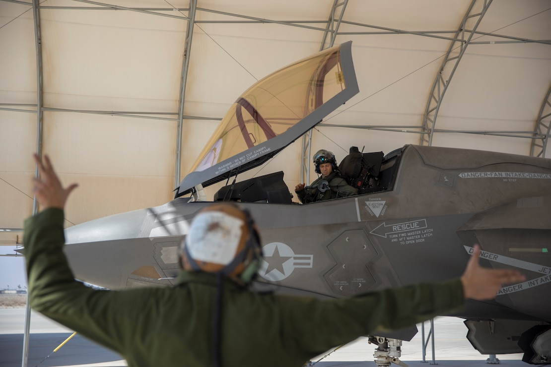U.S. Marine Corps Lt. Col. Alexander Goodno, commanding officer of Marine Fighter Attack Squadron (VMFA) 225 conducts his final checks before takeoff at Marine Corps Air Station Yuma, Ariz., September 25, 2021.  VMFA-225 participated in their first flight as an F-35B squadron. This marked the end of the first phase in the transition from a legacy F/A-18D Hornet squadron to an F-35B squadron. (U.S. Marine Corps Photo by Lance Cpl. Matthew Romonoyske-Bean)