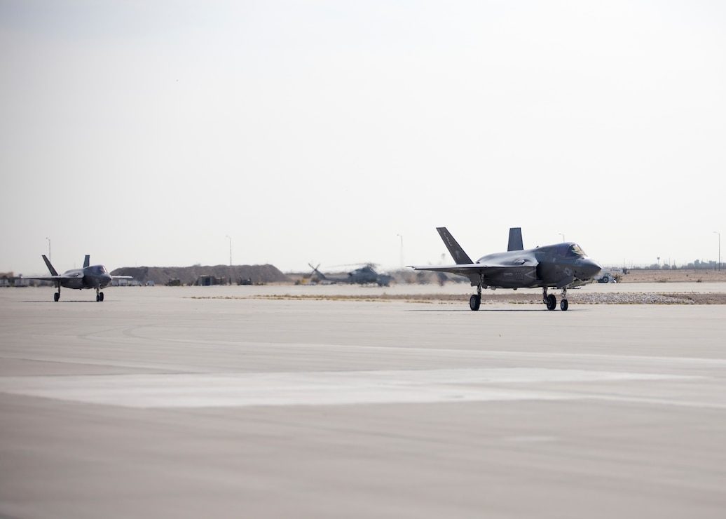 F-35B Lightning II's with Marine Fighter Attack Squadron (VMFA) 225 taxi the runway to takeoff at Marine Corps Air Station Yuma, Ariz., September 25, 2021. VMFA-225 participated in their first flight as an F-35B squadron. This marked the end of the first phase in the transition from a legacy F/A-18D Hornet squadron to an F-35B squadron. (U.S. Marine Corps Photo by Lance Cpl. Matthew Romonoyske-Bean)