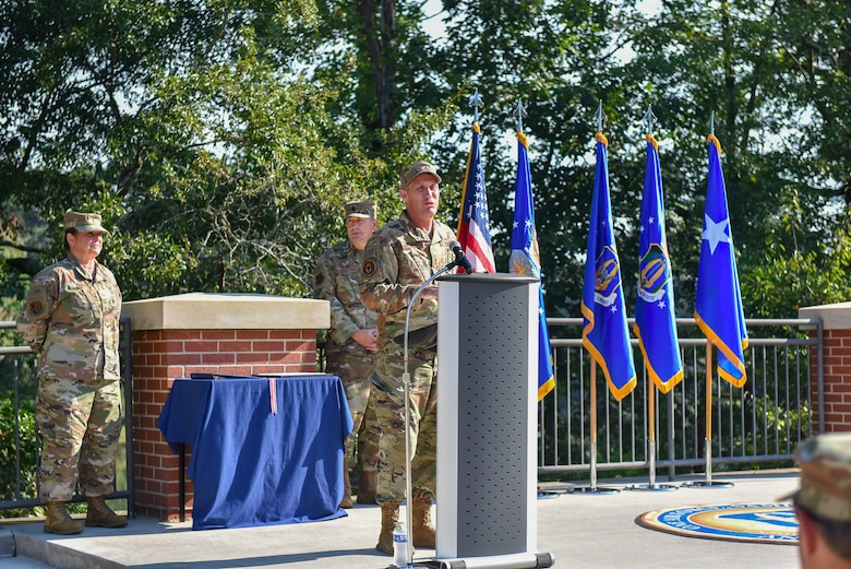 Maj. Gen. Matthew J. Burger, deputy commander of Air Force Reserve Command, gives remarks during a ceremony celebrating the 10th anniversary of AFRC's Force Generation Center at Robins Air Force Base, Georgia, Oct. 1, 2021. The FGC is the single organization responsible for generating Air Force Reserve forces by leveraging Reserve strategic capability to meet operational needs in support of the global force. The Reserve Citizen Airmen who support the FGC perform all aspects of force generation to include oversight, visibility and accountability of more than 70,000 Air Force Reserve forces. (U.S. Air Force photo by Misuzu Allen)
