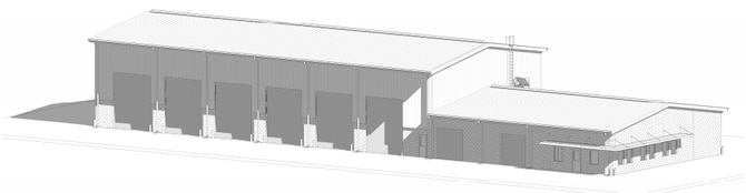 Artist rendering of Silver Flag's new 10,365 square-foot covered storage facility. This project is part of the Tyndall Air Force Base, Florida rebuild and is expected to be completed in 2023.