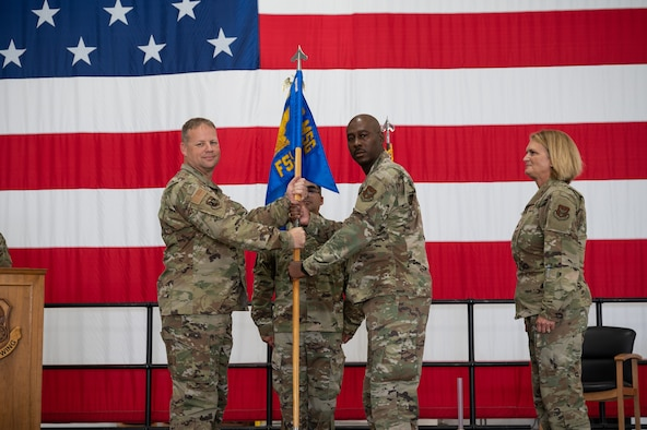 Maj. Ellis Haynes assumed command of the 442d Force Support Squadron at a change of command ceremony Oct. 2, 2021, at Whiteman Air Force Base, Missouri.
