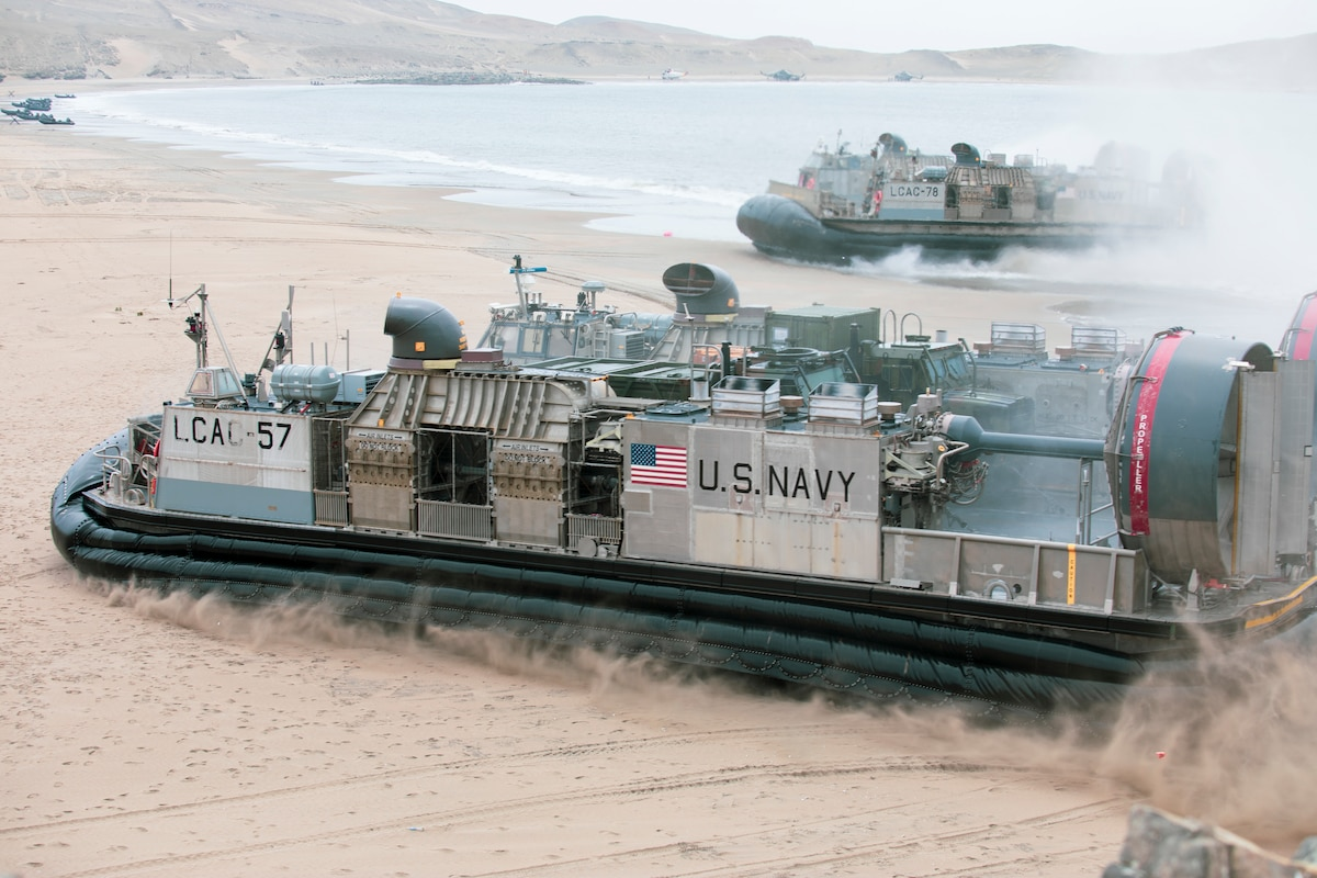 LCACs land on a beach during a UNITAS LXII amphibious landing demonstration.