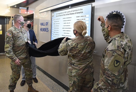 In an informal ceremony held Sept. 24, Maj. Gen. Chris Mohan, ASC commanding general, unveiled the new display located on the north end of the first floor hallway.