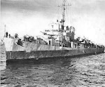 World War II underway photo of the Coast Guard-manned USS Durant (DE-389) sporting its haze gray paint scheme. (U.S. Navy)
