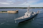 The Navy's newest guided missile destroyer, the future USS Daniel Inouye (DDG 118) sailed away from General Dynamics Bath Iron Works shipyard, Oct. 4.