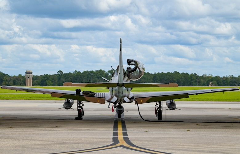 An A-29 Super Tucano aircraft is prepared for departure at Moody Air Force Base, Georgia, Sept. 15, 2021. The Department of Defense made the purchase agreement in 2018. The aircraft will be transported to Kainji Air Base, Nigeria, where it will serve the NAF for future operations. (U.S. Air Force photo by Senior Airman Rebeckah Medeiros)