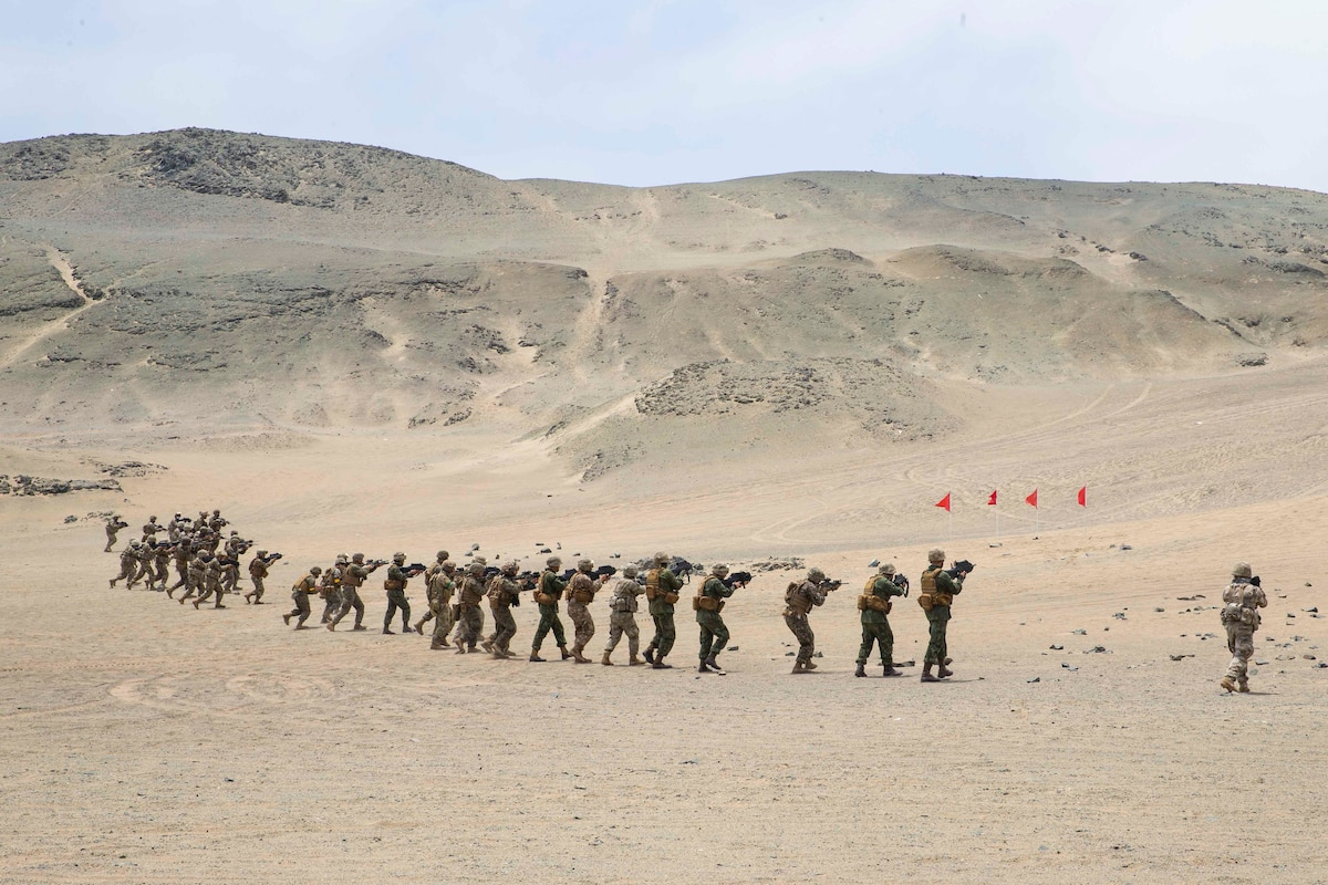 Troops move though desert terrain while holding weapons.