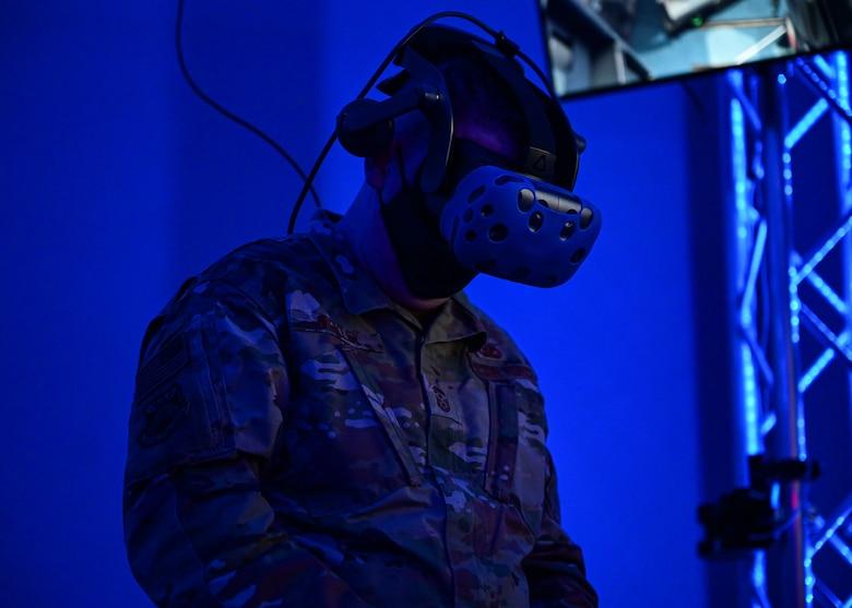 A man uses a virtual reality headset