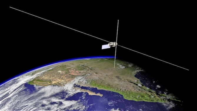 An artist's rendering of the Air Force Research Laboratory's DSX spacecraft on-orbit with its 80-meter and 16-meter antenna booms extended. Spanning almost a football field, DSX is the largest unmanned self-supporting structure ever placed in space. (U.S. Air Force rendering/W. Robert Johnston)