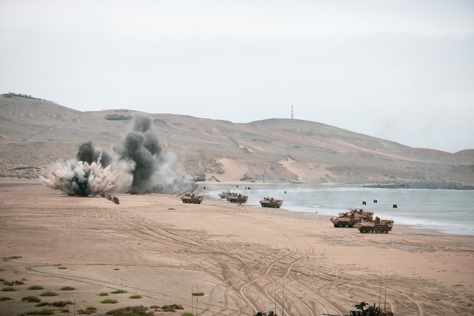 Peruvian marines operate amphibious armored vehicles, from ship-to-shore during an amphibious landing as part of UNITAS LXII in Salinas, Peru, Oct. 2, 2021. UNITAS is the world's longest-running maritime exercise. Hosted this year by Peru, it brings together multinational forces from twenty countries and includes 29 ships, four submarines, and twenty aircraft conducting operations off the coast of Lima and in the jungles of Iquitos. The exercise trains forces to conduct joint maritime operations and focuses on strengthening partnerships and increasing interoperability and capability between participating naval and marine forces.