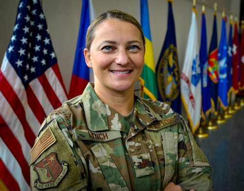 Erika Lynch is promoted to the rank of colonel in the Nebraska Air National Guard during a ceremony, Sept. 11, 2021 at the Nebraska National Guard's Joint Force Headquarters and assumes her new role as the State Staff Judge Advocate in Lincoln. (U.S. Air National Guard photo by Lt. Col. Kevin Hynes)