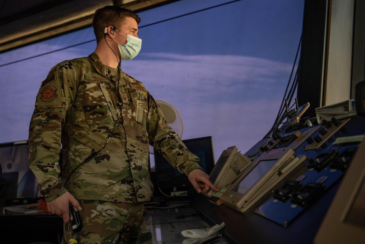 Staff Sgt. Christian Glover, 39th Operations Support Squadron air traffic controller, monitors the flight line at Incirlik Air Base, Turkey, April 13, 2021. ATC Airmen are responsible for clearing pilots during take-off and landing, and play a significant role in communicating vital flight pattern and weather information. (U.S. Air Force photo by Senior Airman Derek Seifert)