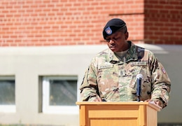 1st Sgt. Antwan Stanley, outgoing first sergeant, Headquarters and Headquarters Company, Special Troops Battalion, 1st Theater Sustainment Command, delivers his departure speech during the company's change of responsibility ceremony at Fort Knox, Kentucky, Oct 1., 2021. The ceremony symbolized the transfer of responsibility from the outgoing first sergeant to the incoming first sergeant.