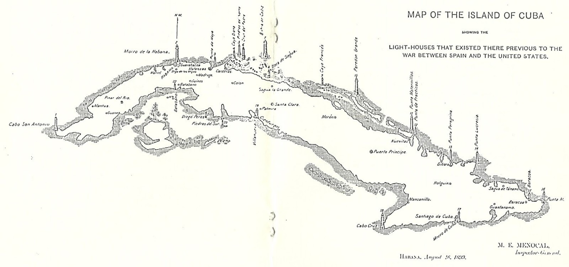 """An 1899 chart showing Cuba's lighthouses after the Spanish surrender. Guantanamo Bay is located to the right at southern end of the island. (""""Los Faros en Cuba."""" El Pensamiento Blogspot.1 JUN 2018. https://pensamiento-2012.blogspot.com/2018/06/los-faros-en-cuba.html.)"""