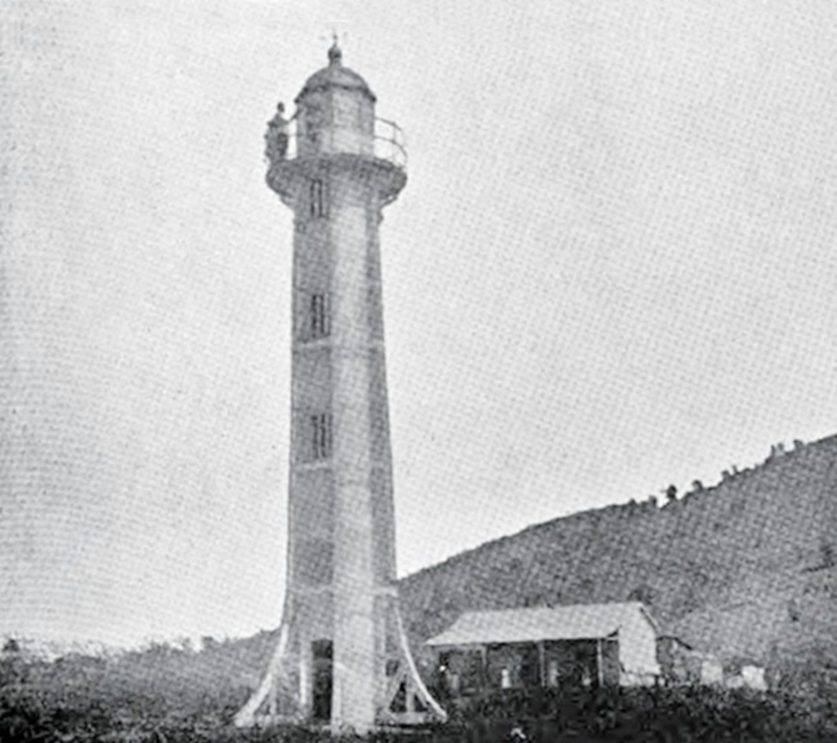 Guantanamo Lighthouse on Windward Point in 1901, just after the lighthouse's installation. All metal and hollow inside, it was transported in six sections, assembled and painted in Guantanamo. (Photo courtesy of Lighthousefriends.com)
