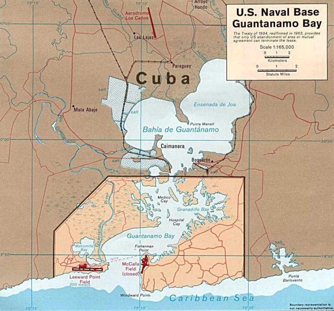 Old chart showing Guantanamo Naval Base and location of Guantanamo Light on Windward Point. (Wikipedia)