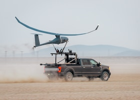A Vanilla unmanned aircraft system launches from the Rogers Dry Lakebed on Edwards Air Force Base, California, Sept. 24. The aircraft broke the world record for unrefueled, internal combustion endurance of an unmanned aircraft with a total continuous flight time of 8 days, 50 minutes, and 47 seconds, and 12,200 miles, Oct. 2. (Air Force photo by Josh McClanahan)