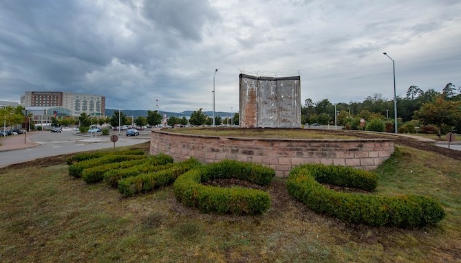 A fragment of the Berlin Wall was placed near the Kaiserslautern Military Community Center as a memorial at Ramstein Air Base, Germany, Oct. 1, 2021.
