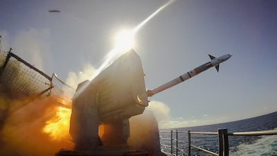 USS Kearsarge (LHD 3) fires a RIM-116A Rolling Airframe Missile.