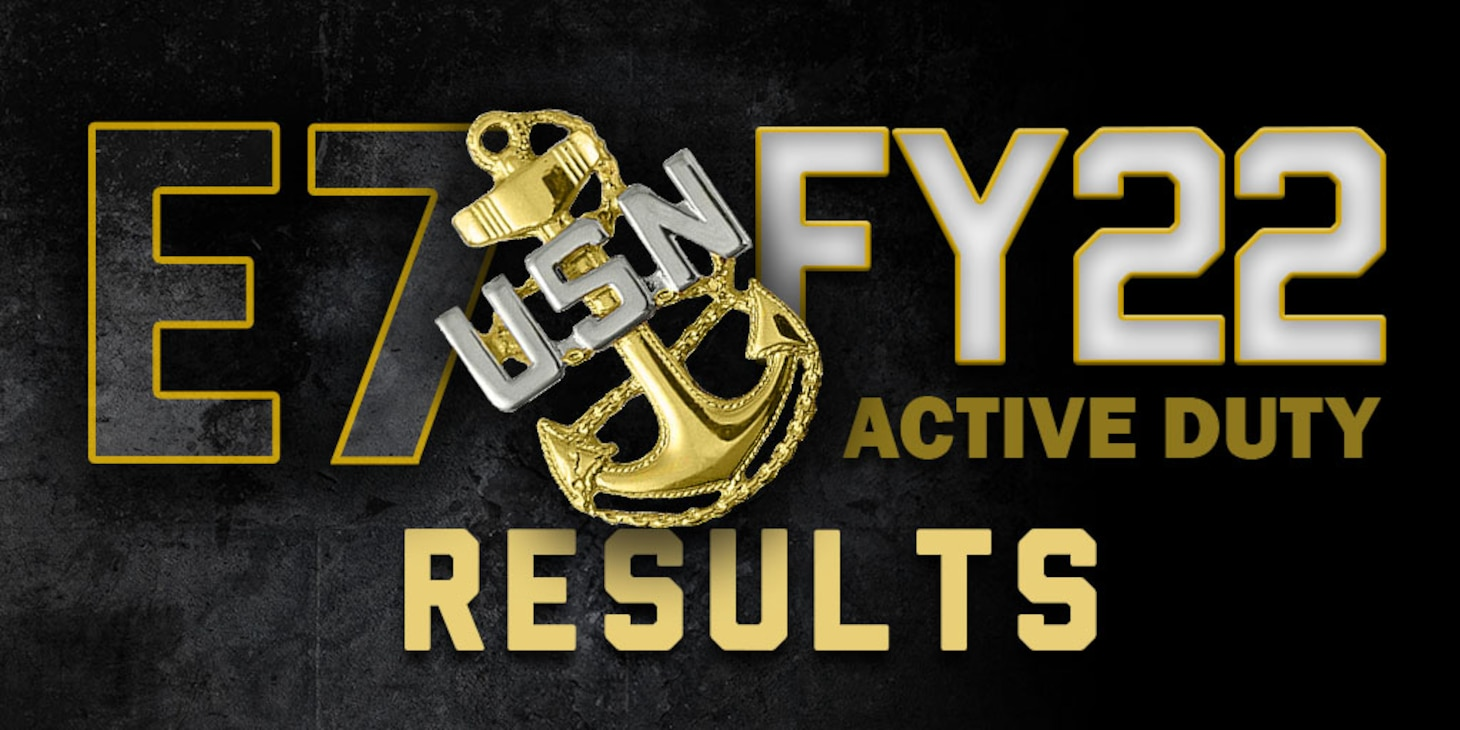 """Navy Chief anchor in left side of photo with the words """"FY-22 Active Duty Results"""" next to them."""