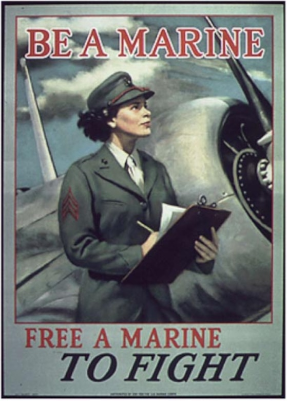 A Marine Corps recruiting poster features a woman.